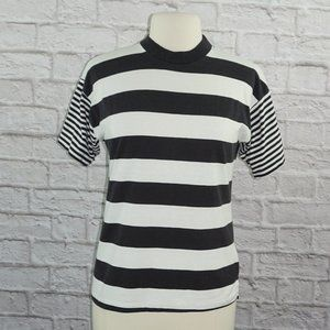 Vintage Black White Striped Sk Sport Shirt